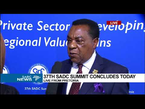 Tanzania's Minister of Foreign Affairs Augustine Mahiga  at the 37th SADC Summit