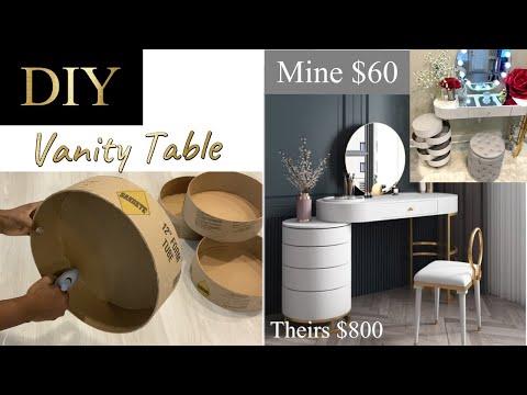 HOLLYWOOD DIY VANITY TABLE| AMAZING CARDBOARD TRANSFORMATION! SMALL SPACE VANITY