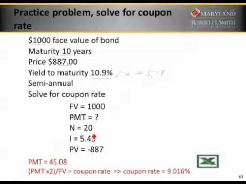 Finding Coupon Rate Of A Coupon Bond 6 3 3 Youtube