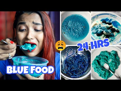 I Ate BLUE FOOD FOR 24 HOURS CHALLENGE !! FULL DAY OF EATING Vlog - BLUE FOOD ONLY | INDIA