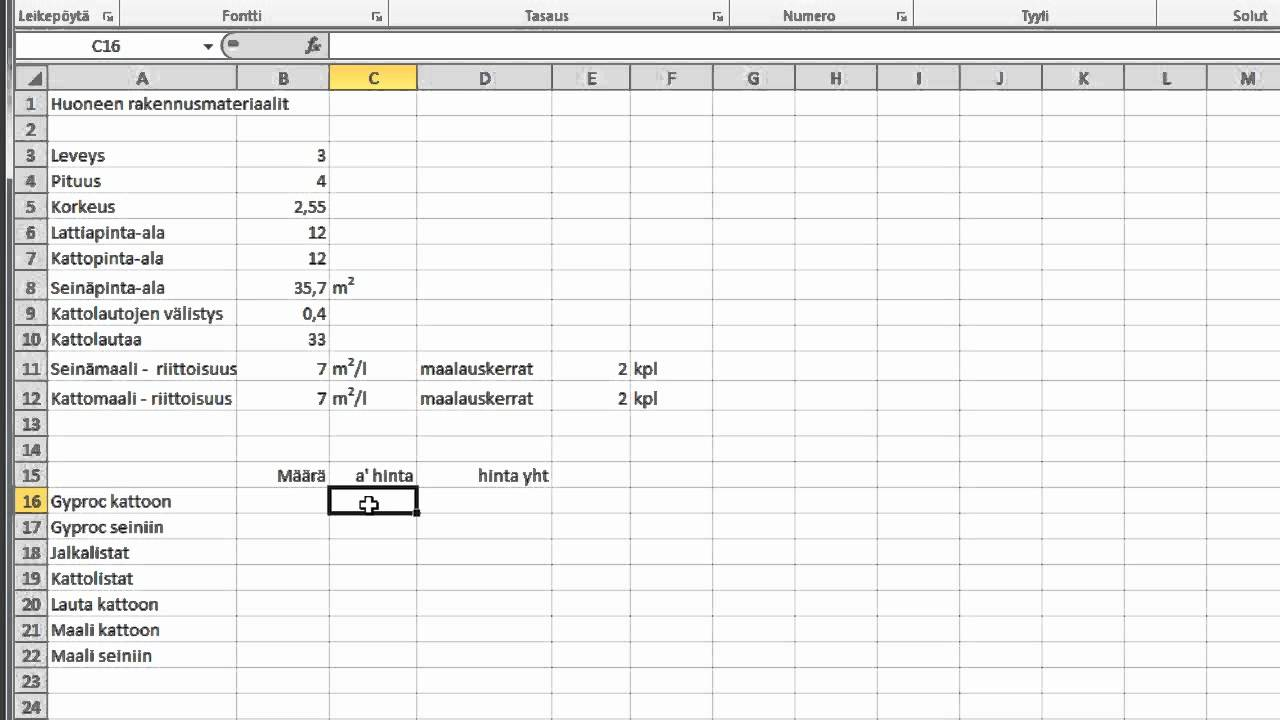 Budjetti Excel
