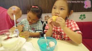 Häagen-Dazs推優格系冰品的優格冰淇淋派對午茶很有英式下午茶的風格又有超好吃的冰淇淋哦 我們在台茂店  Sunny Yummy running toys 跟玩具開箱