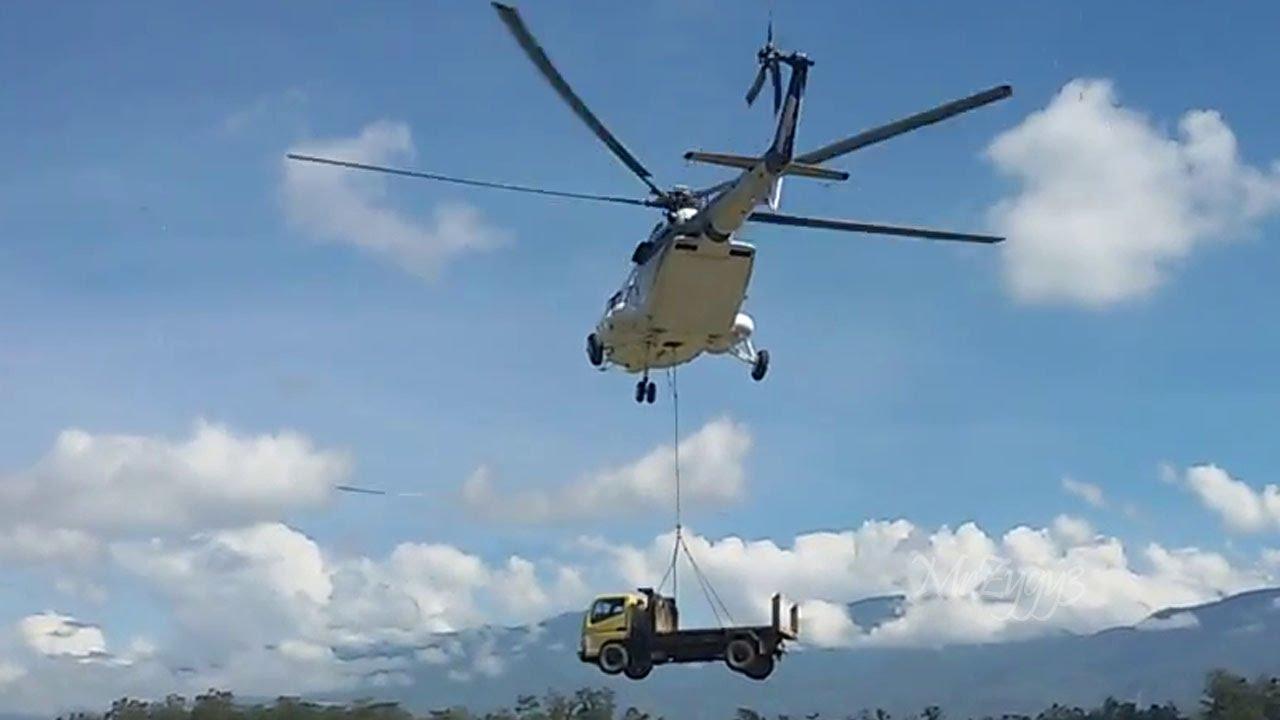 Mi-171 Helicopter Transporting Mitsubishi Fuso Truck - YouTube