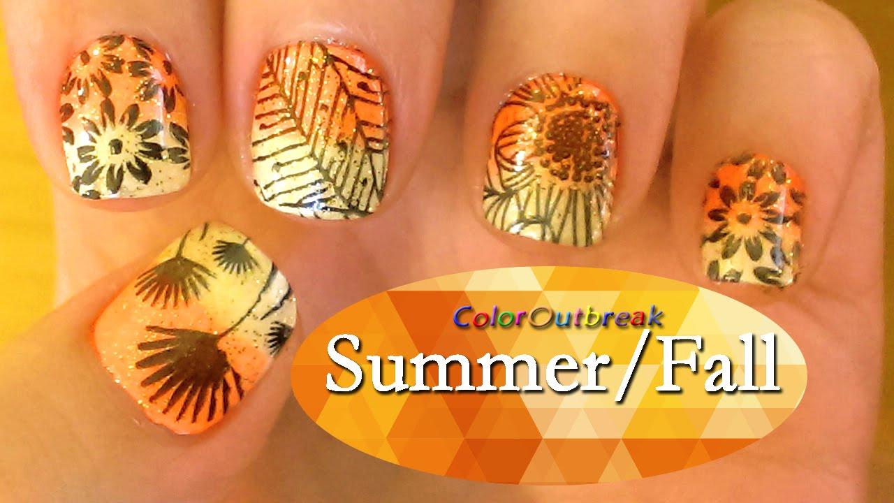 Nail art designs floral summer fall flowers amp plants orange