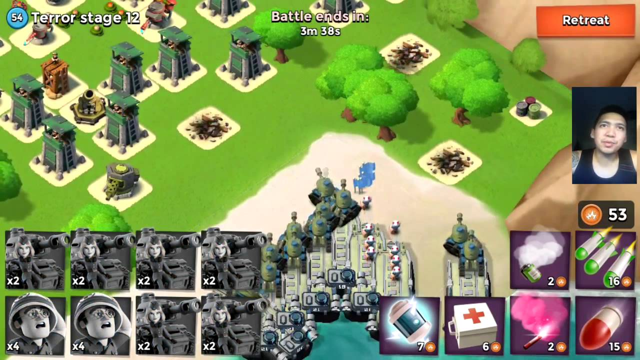 boom beach tanks and medics vs dr terror volcano boss stage 1 20