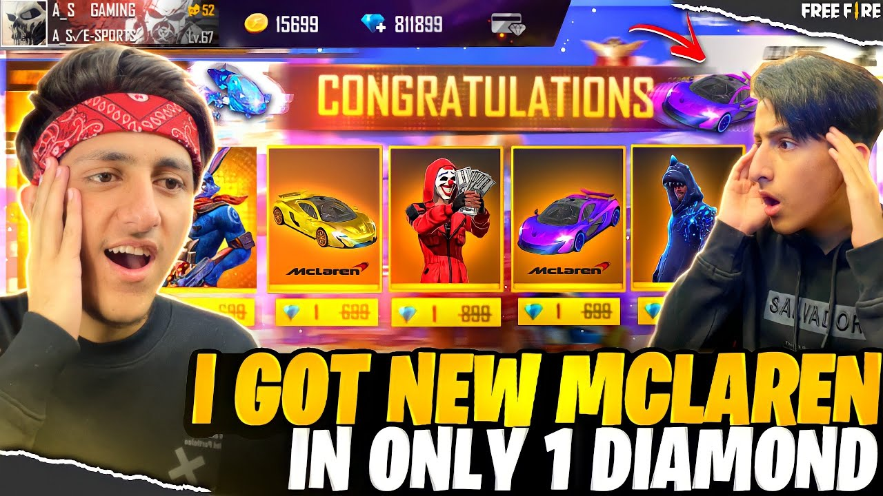 New McLaren Skin In Only 1 Diamond Luckiest Player In Free Fire 12000 Diamond - Garena Free Fire