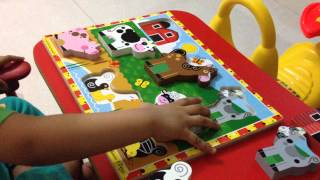 Ritwik Solving Melissa & Doug Chunky Wooden Puzzle!