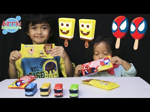 Airriu Belajar Warna dan Berhitung Tayo dapat Hadiah ice cream spiderman & spongebob