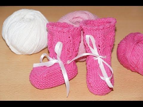 Вязание спицами. Пинетки сапожки для новорожденных ///   Knitting. Boots booties for babies