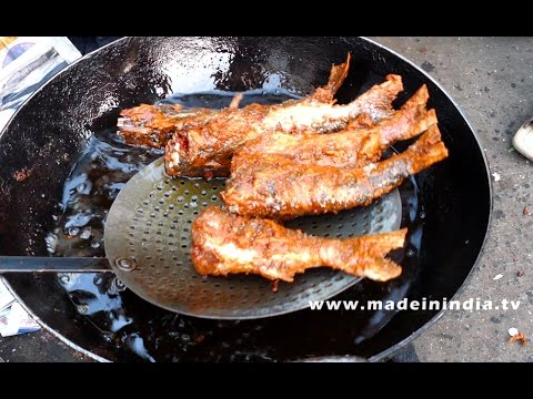 Road side salt fish fry making mumbai street foods in for Sides for fried fish
