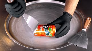 ASMR - Fanta Mango Ice Cream Rolls | oddly satisfying fast ASMR with tapping & scratching Sound - 4k