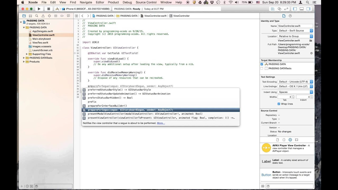 iOS Swift: Passing Data Between View Controllers Segues With  prepareForSegue in Xcode