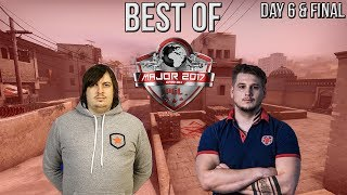 CS:GO - BEST MOMENTS OF PGL Major Krakow 2017 Final & Day 6 (Dosia 200 IQ Nade, Zeus 1 vs 2)