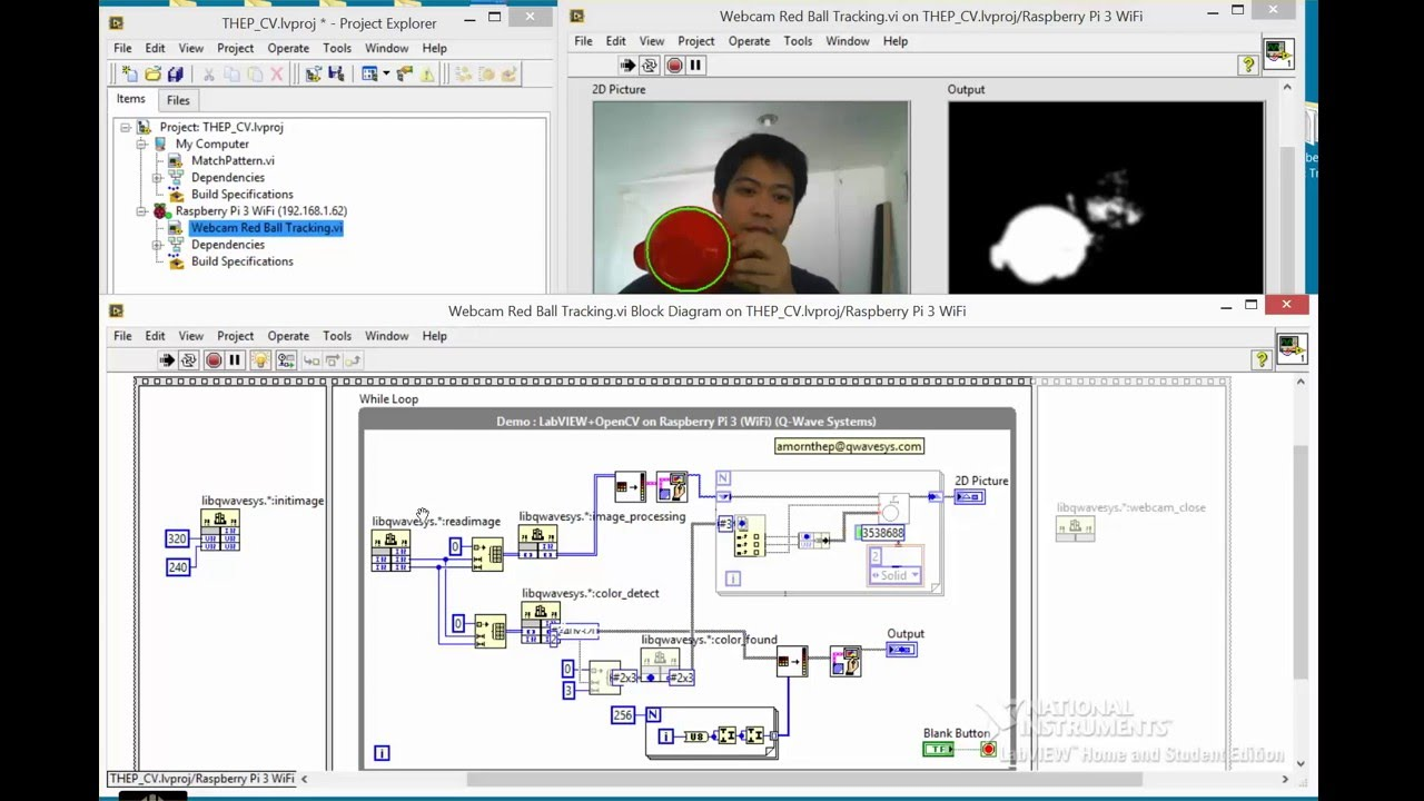 [Raspberry Pi ] LabVIEW+OpenCV : Object Tracking