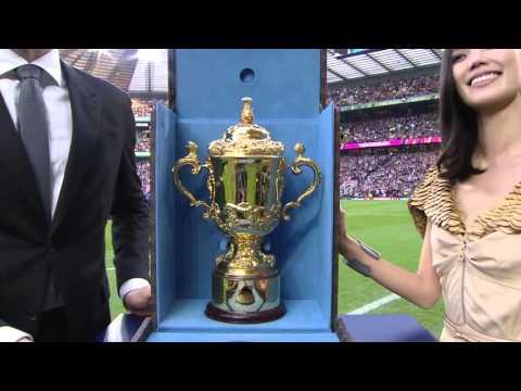 Tao Okamoto & John Eales Present The Web Ellis Cup At 2015 RWC Final