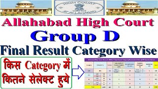 Allahabad High Court Group D किस कैटेगरी मे कितने सलेक्ट हुए, Group C Result, Group D DNA Analysis