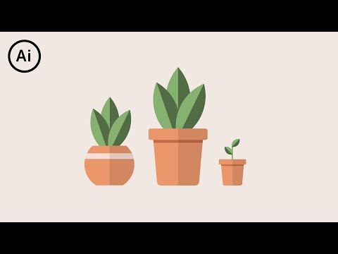 Flat Design Potted Plants | Illustrator CC Tutorial