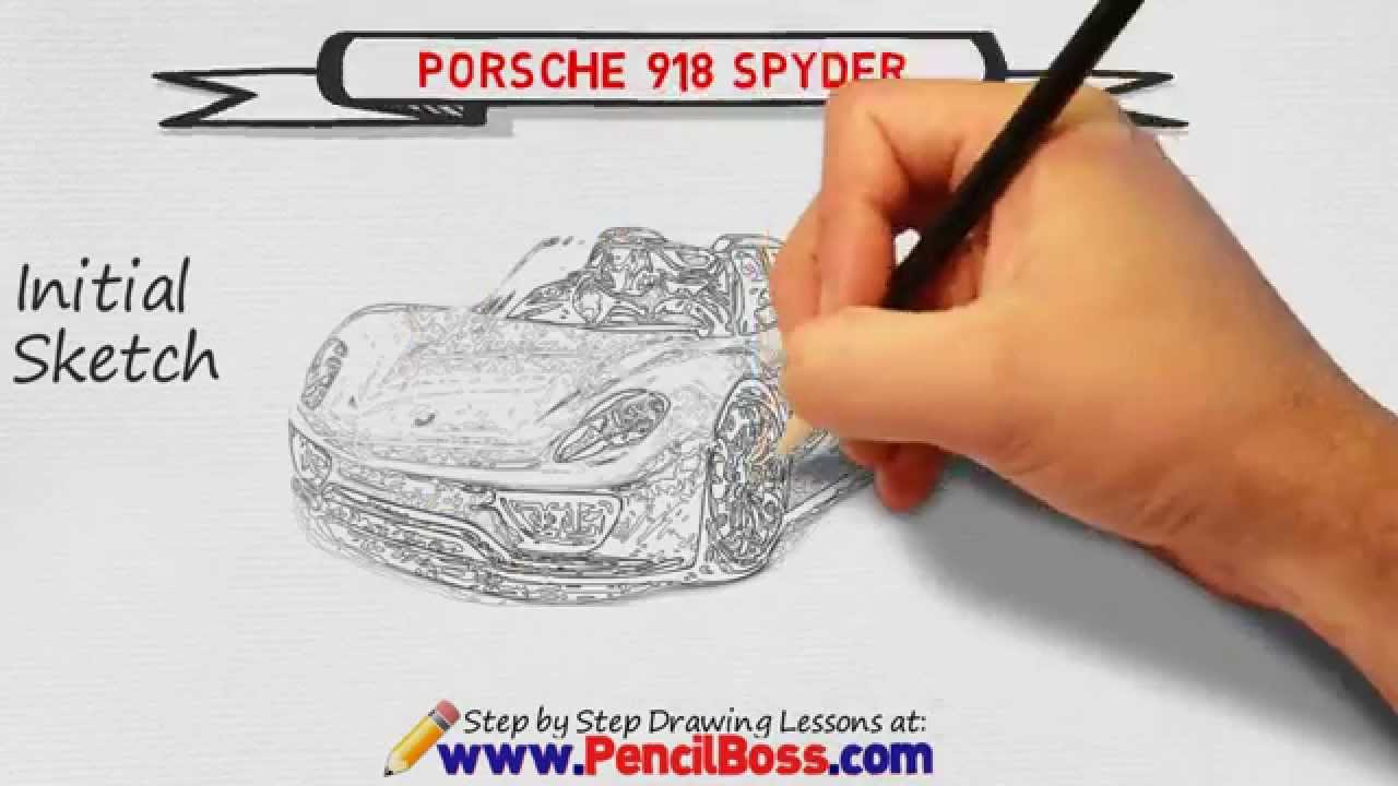 how to draw a porsche 918 spyder speed drawing youtube. Black Bedroom Furniture Sets. Home Design Ideas