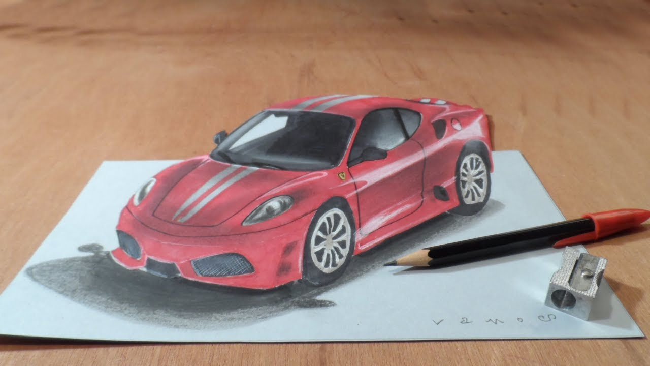 Drawing Ferrari Illusion - How to Draw 3D Ferrari Car - VamosART