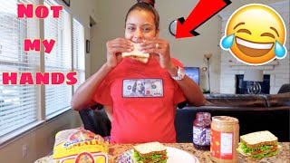 MAKING A SANDWICH WITH NO ARMS CHALLENGE !!