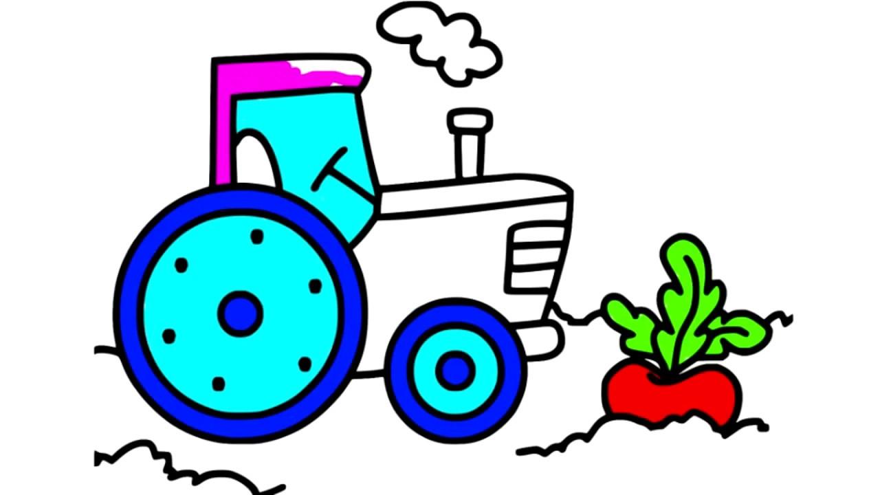 Раскраска для детей Трактор Песенки для детей - YouTube