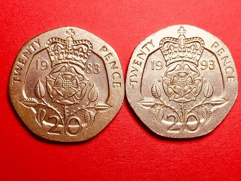 UK 20 Twenty Pence Coins 1983 & 1993 ELIZABETH II 2nd And 3rd Portraits
