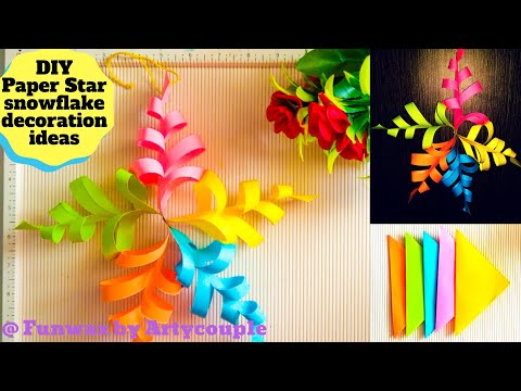 DIY Paper Star Snowflake for Christmas   Wall hanging paper craft   Christmas decoration ideas