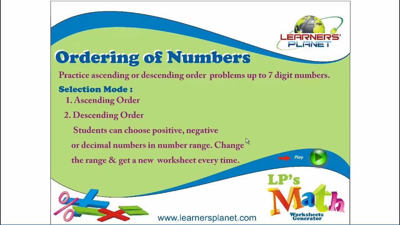 Ordering Numbers Worksheets ordering numbers worksheets : Ascending and Descending Order - YouTube