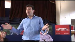 Andy Burnham speaks in Coventry.