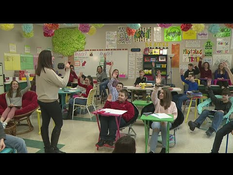 Students loving comfortable seating inside Niles Middle School classroom