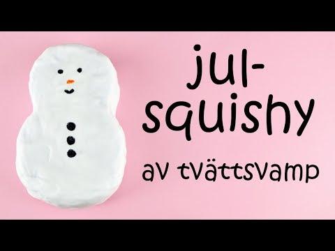 JULPYSSEL DAG 16 | julsquishy av tvättsvamp: snögubbe