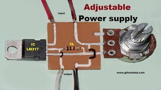 Adjustable power supply with LM317