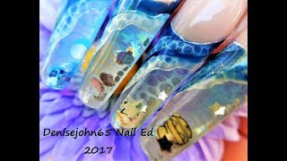 Waves & Seafoam Painting -----Alcohol Ink & Gel -- NAIL Painting On Aquarium NAILS