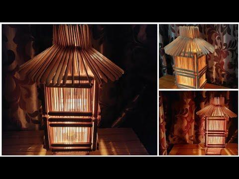 How to make night lamp | ice cream sticks lamp -नाईट लैंप आइसक्रीम स्टिक से बनाये