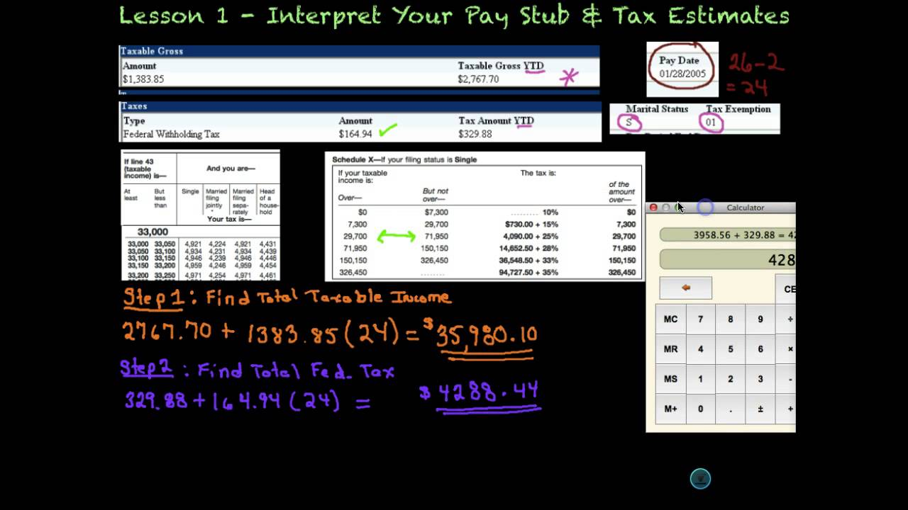 lesson 1 - your pay stub  u0026 tax estimates