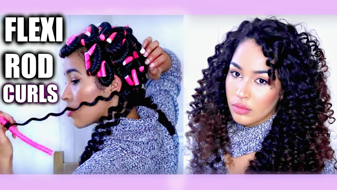 Heatless Curly Hair Tutorial Flexi Rods Bendy Rollers On Natural Curls