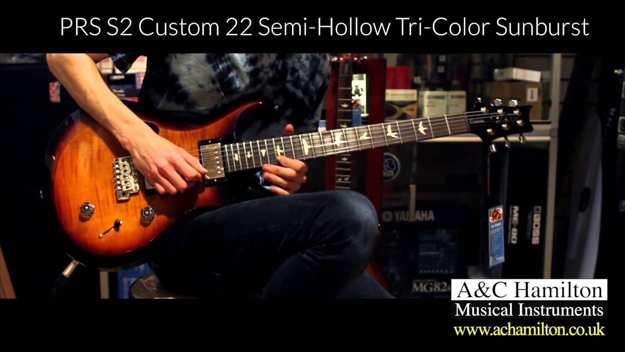 prs s2 custom 22 semi hollow tri color sunburst a c hamilton blackpool road youtube. Black Bedroom Furniture Sets. Home Design Ideas