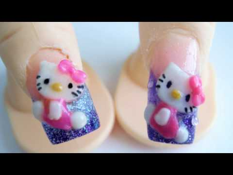 Hello Kitty diseño de uñas acrilicas 3D relieve glitter morada rosa Videos De Viajes