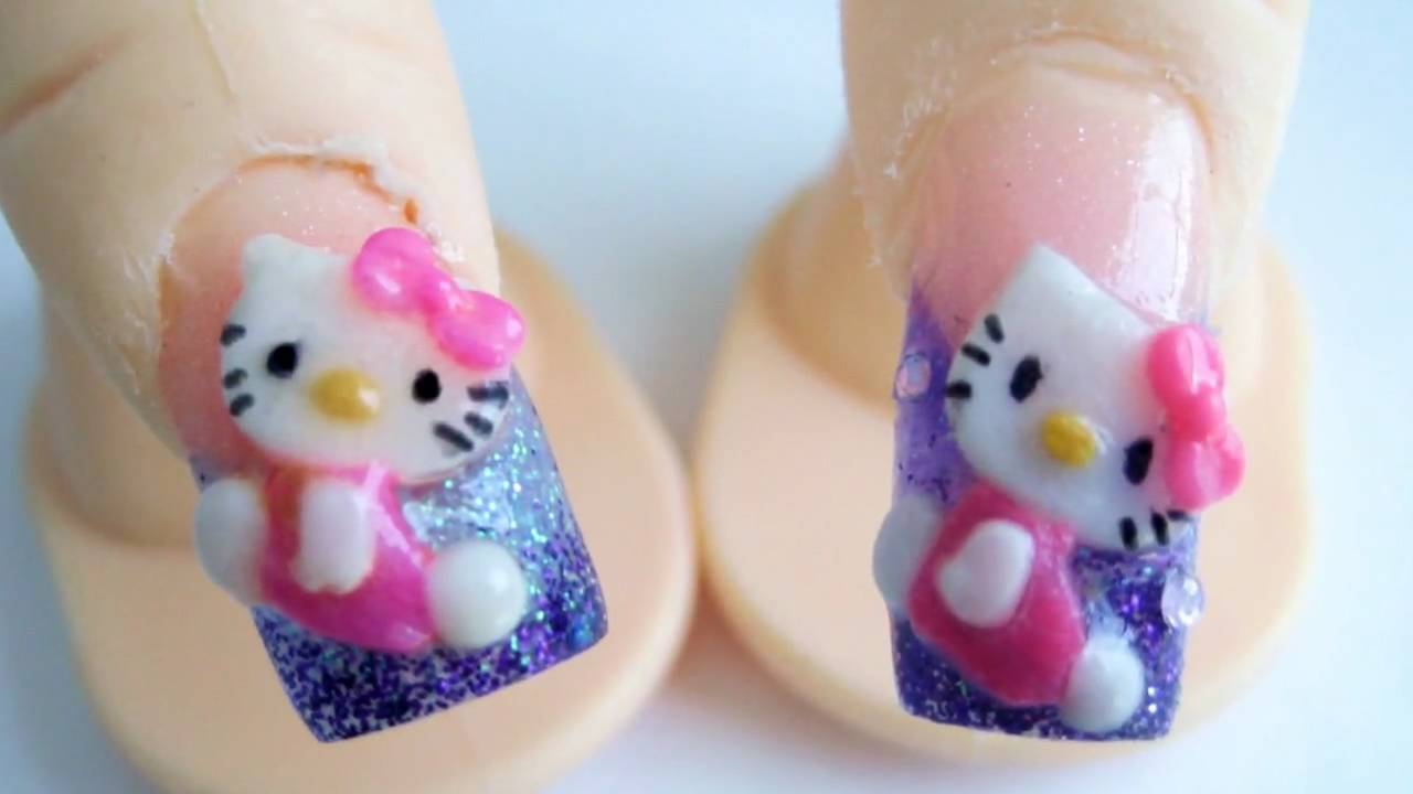 Hello Kitty diseño de uñas acrilicas 3D relieve glitter morada rosa kawaii  , YouTube