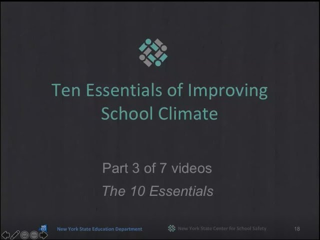 """The 10 Essentials for Improving School Climate"" Part 3 of 7"