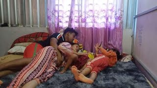 Husband is really sweet and happy with wife, happy family