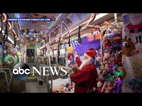 Bus Driver Decorates Public Bus for the Holidays