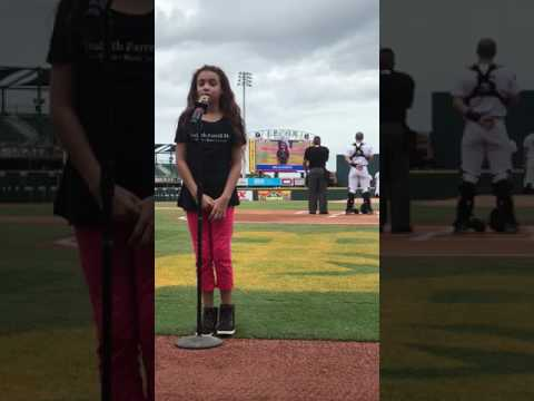 Bella Alberti sings the national anthem