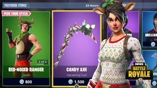 NEW RED NOSED RAIDER & RED NOSED RANGER SKINS + CANDY AXE PICKAXE + CANDY WRAP FORTNITE