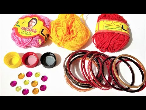 Old Bangles Reuse Ideas / DIY Best Out Of Waste Craft Ideas / Wool and Bangle Craft
