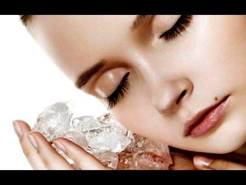 Протирание кожи на лице льдом. Лёд из ромашки для лица
