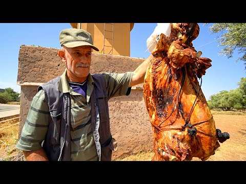 Morocco Village Food - BERBER PIT ROAST LAMB in Imlil! Eating NORTH AFRICAN Food in Morocco!!