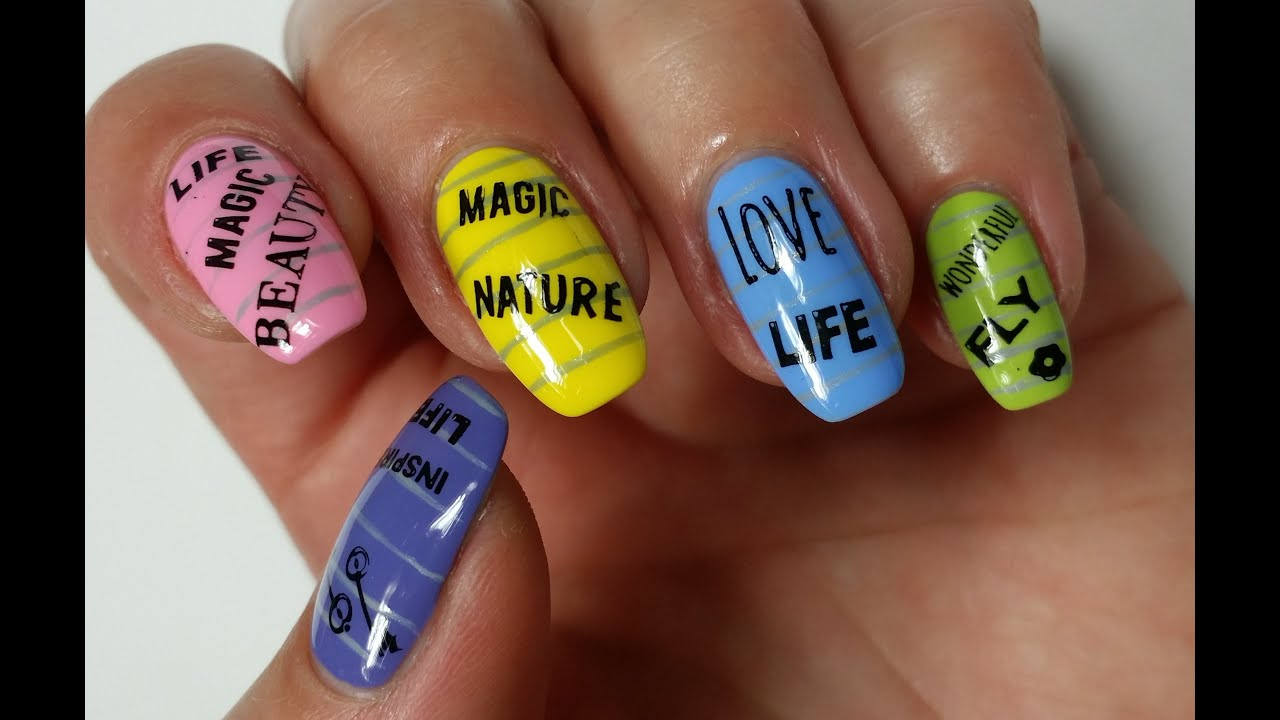 Back to School Nails: Sticky Notes - YouTube