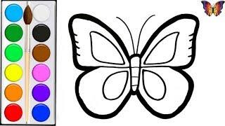 как нарисовать БАБОЧКУ / Мультик раскраска БАБОЧКА для детей