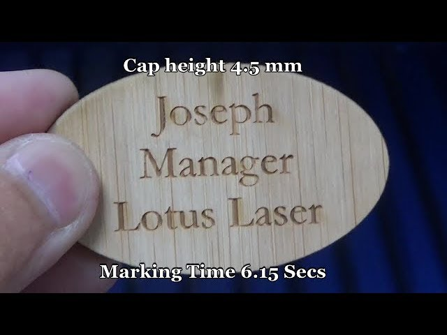 Lotus Laser Systems Blu100 and Meta CO2 cutting and marking Bamboo badges